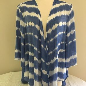 Women's Blue and White Cardigan